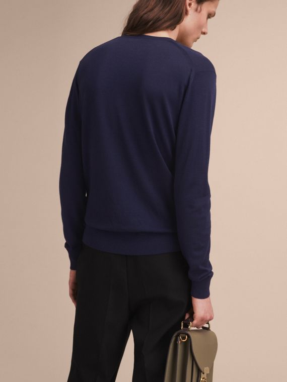Pallas Helmet Motif Merino Wool V-neck Sweater in Navy - Men | Burberry - cell image 2