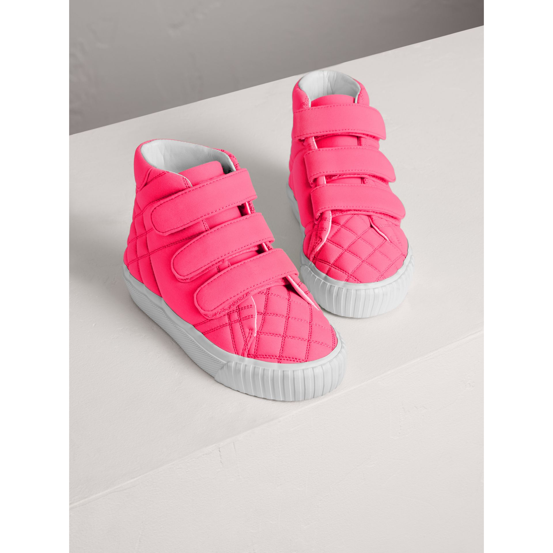 Quilted High-top Trainers in Neon Pink | Burberry - gallery image 3