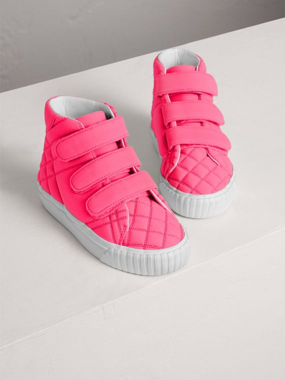Quilted High-top Trainers in Neon Pink | Burberry - cell image 3