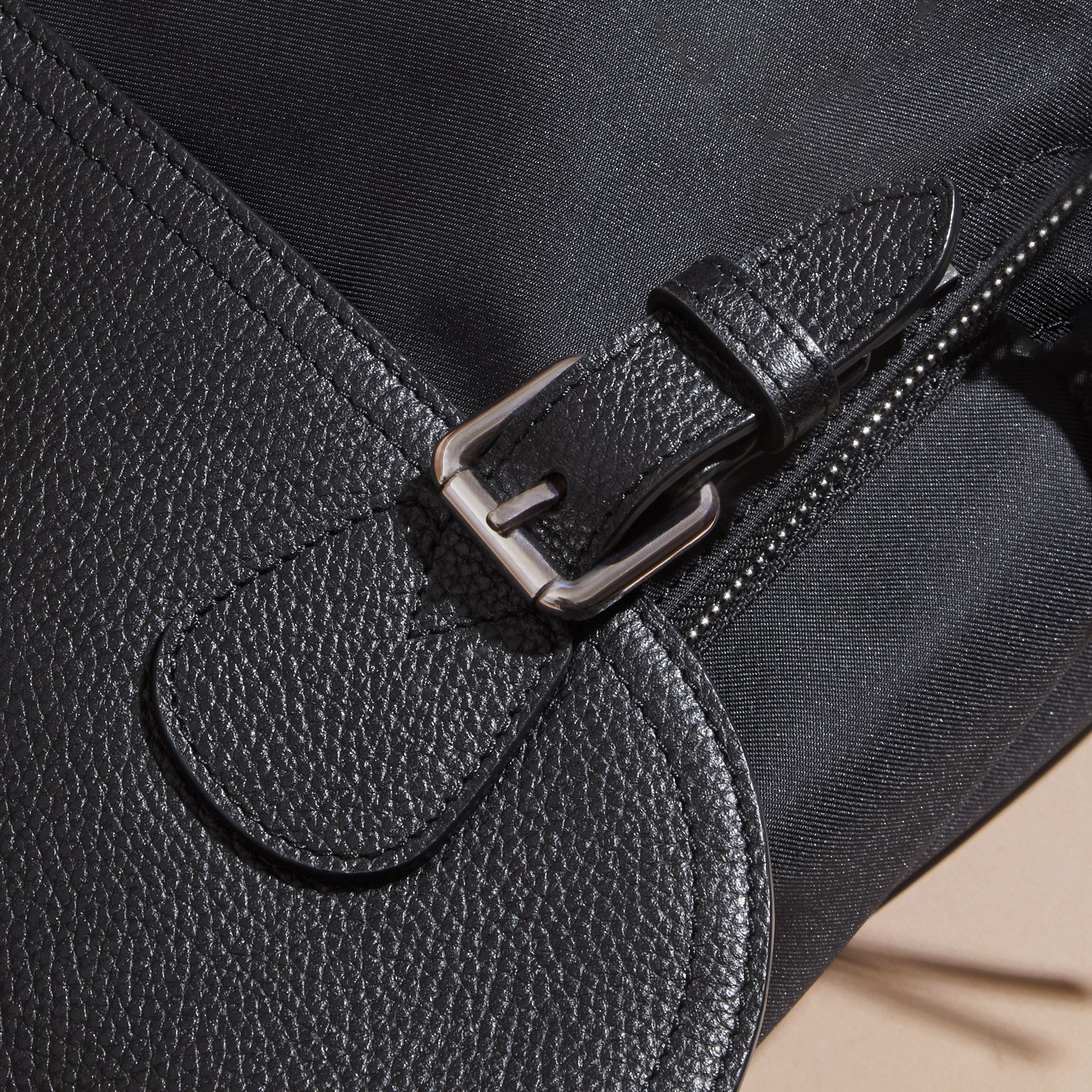 Black Leather Trim Messenger Bag - gallery image 6