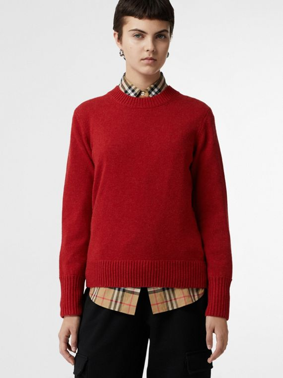 Embroidered Crest Cashmere Sweater in Coral Red
