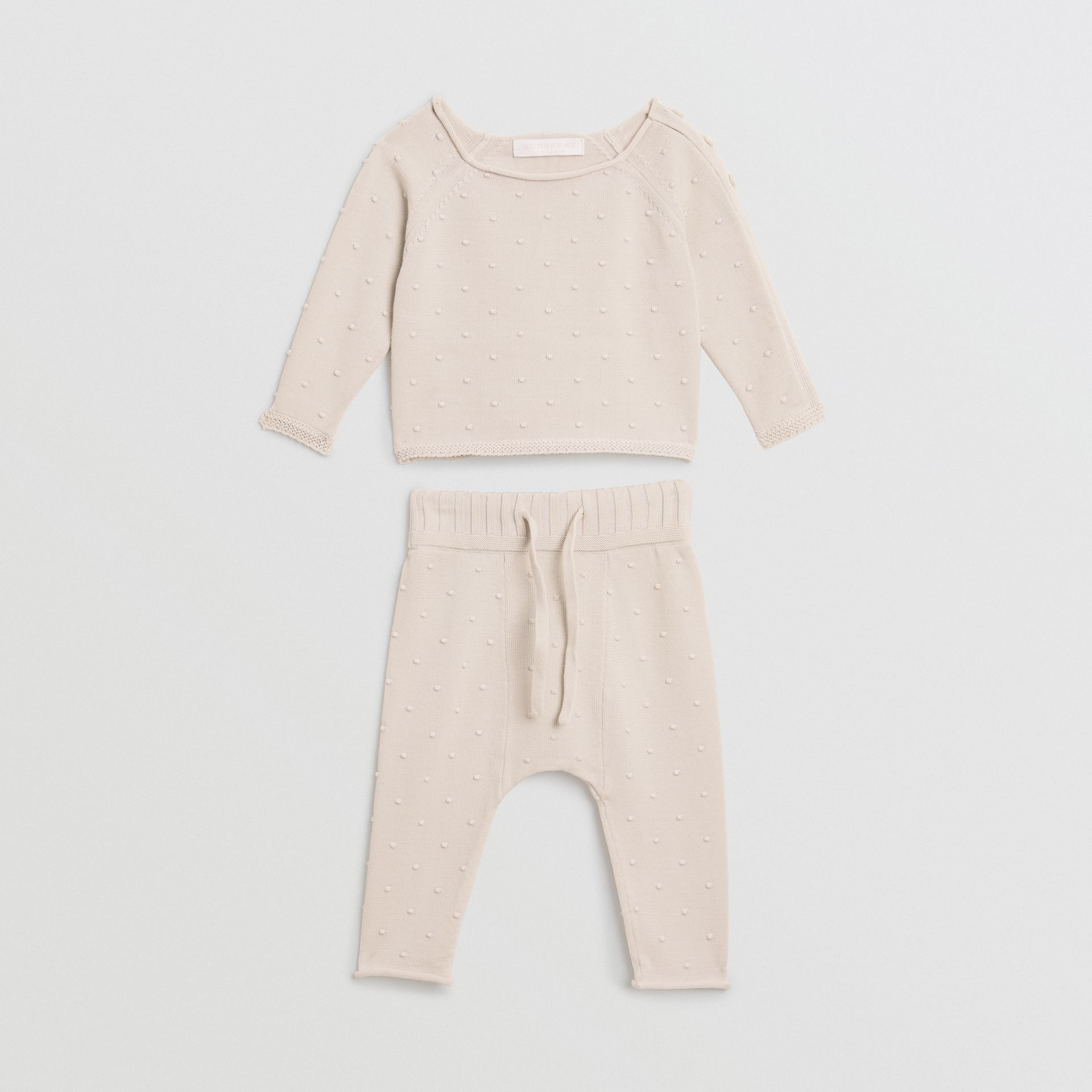 Bobble Knit Cotton Two-piece Baby Gift Set in Stone - Children | Burberry Singapore - gallery image 2