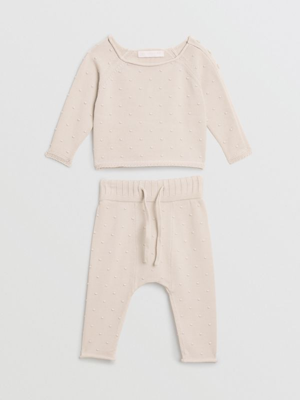 Bobble Knit Cotton Two-piece Baby Gift Set in Stone - Children | Burberry - cell image 2