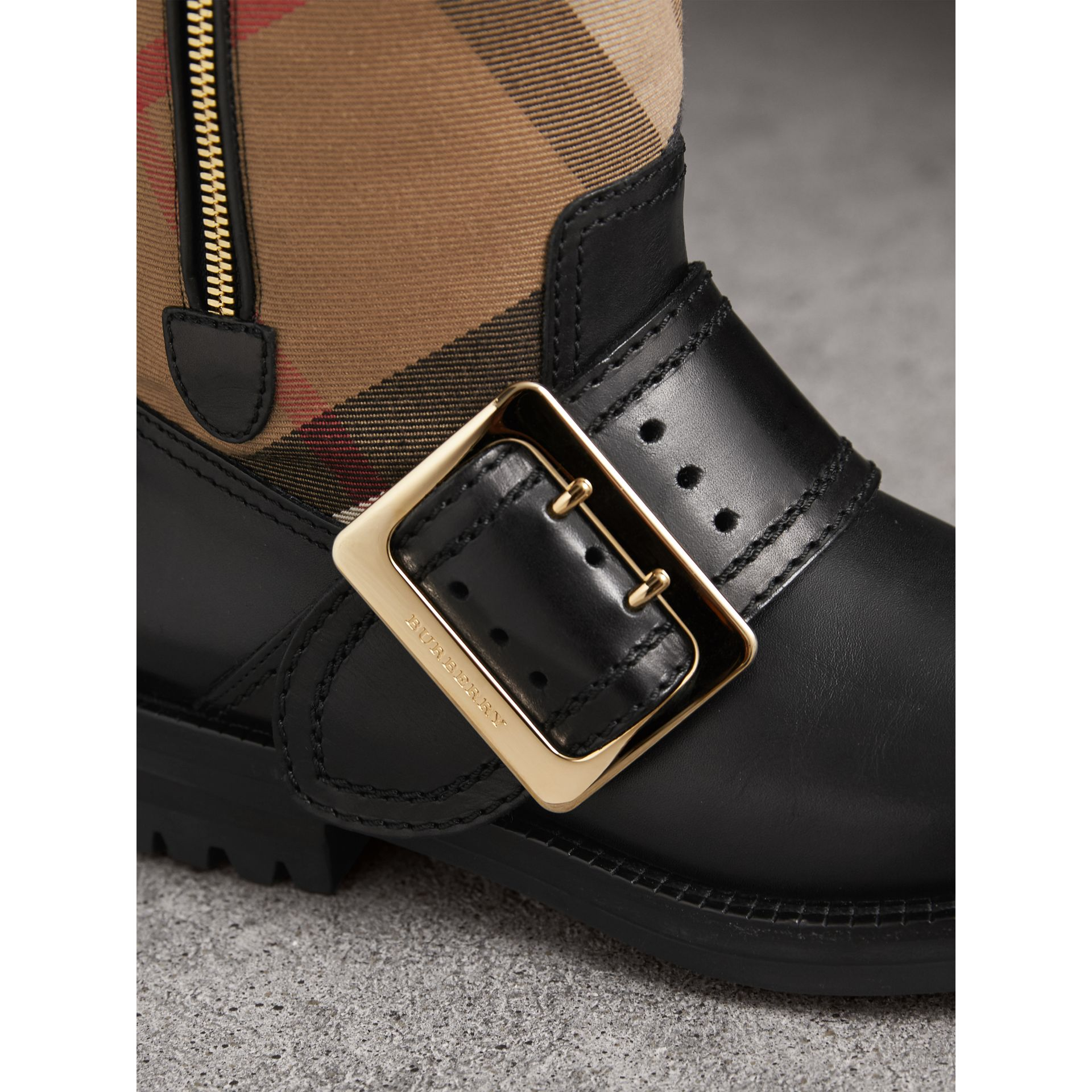 House Check Buckle Detail Leather Boots in Classic - Women | Burberry - gallery image 2