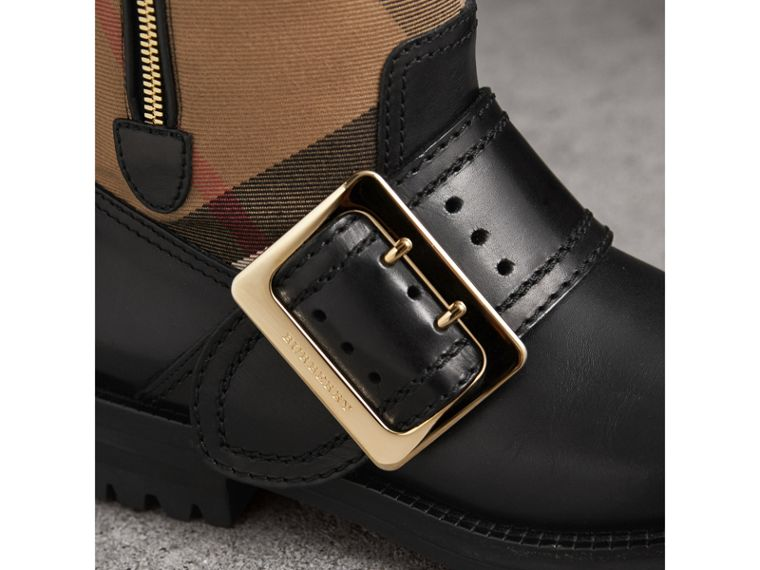 House Check Buckle Detail Leather Boots in Classic - Women | Burberry United States - cell image 1