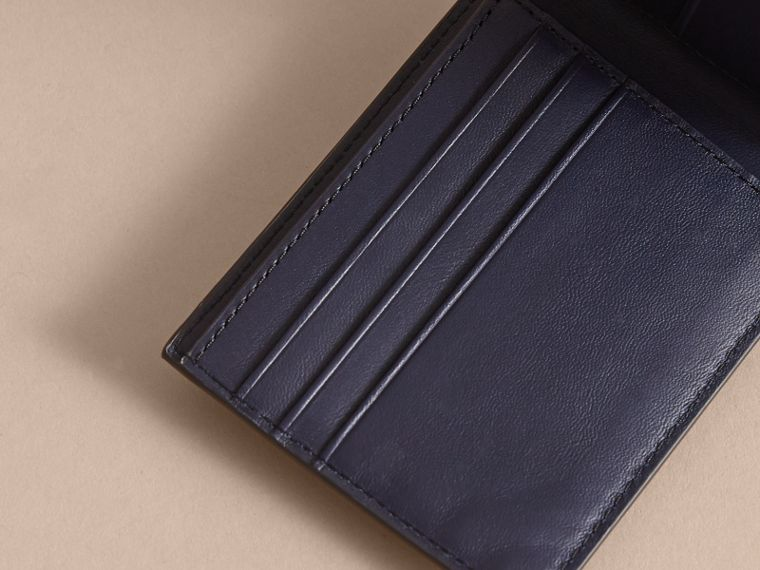 London Check Bifold Wallet in Bright Lapis - Men | Burberry - cell image 4