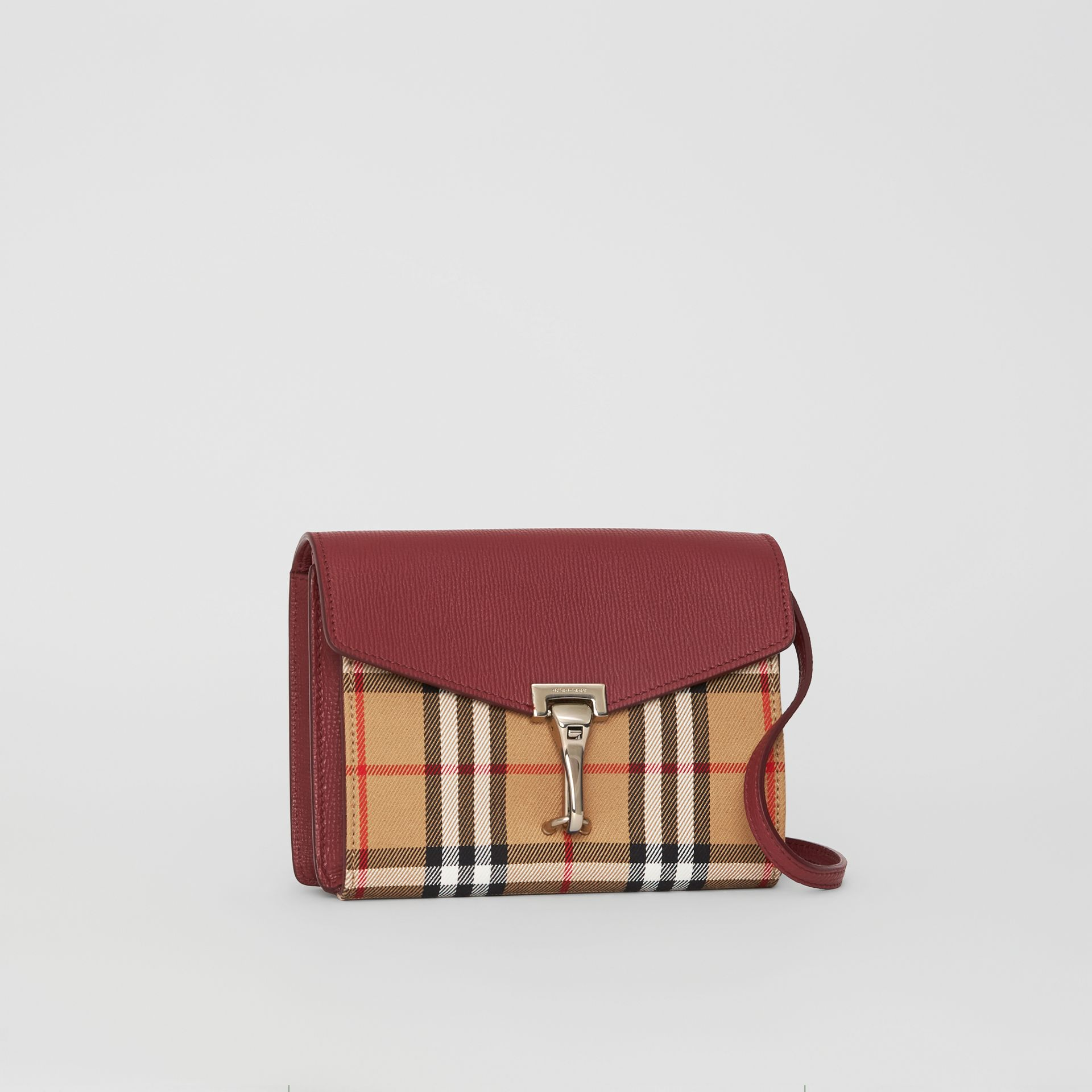 Mini Leather and Vintage Check Crossbody Bag in Crimson - Women | Burberry - gallery image 4