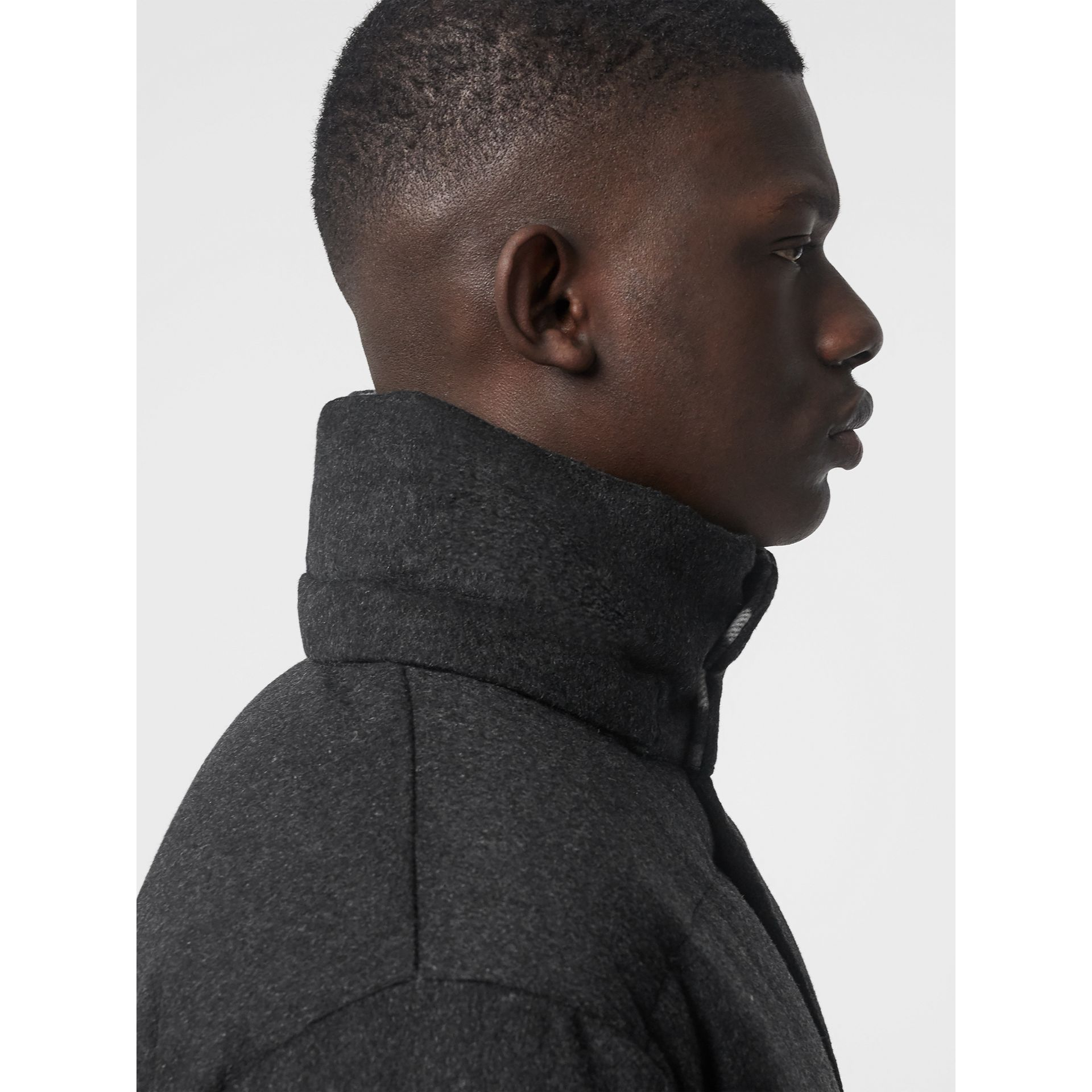 Detachable Hood Cashmere Down-filled Jacket in Dark Grey Melange - Men | Burberry United States - gallery image 1