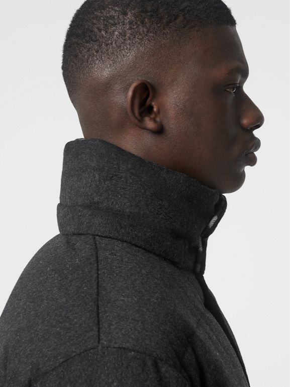 Detachable Hood Cashmere Down-filled Jacket in Dark Grey Melange - Men | Burberry Australia - cell image 1
