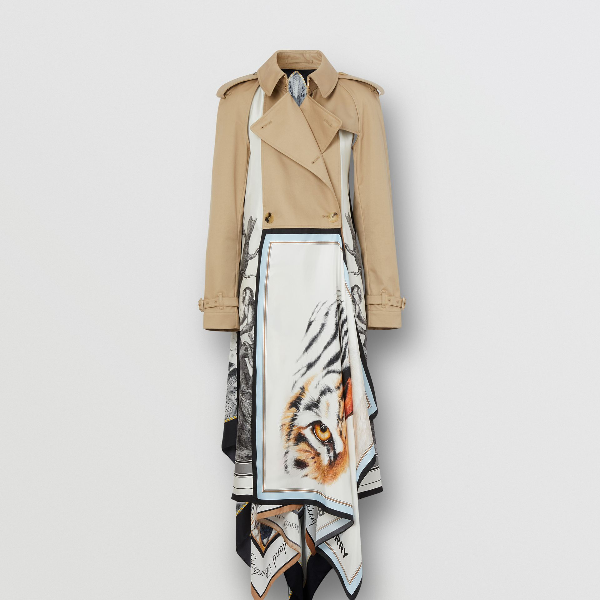 Animalia Print Cotton Twill Trench Coat in Soft Fawn - Women | Burberry Canada - gallery image 2