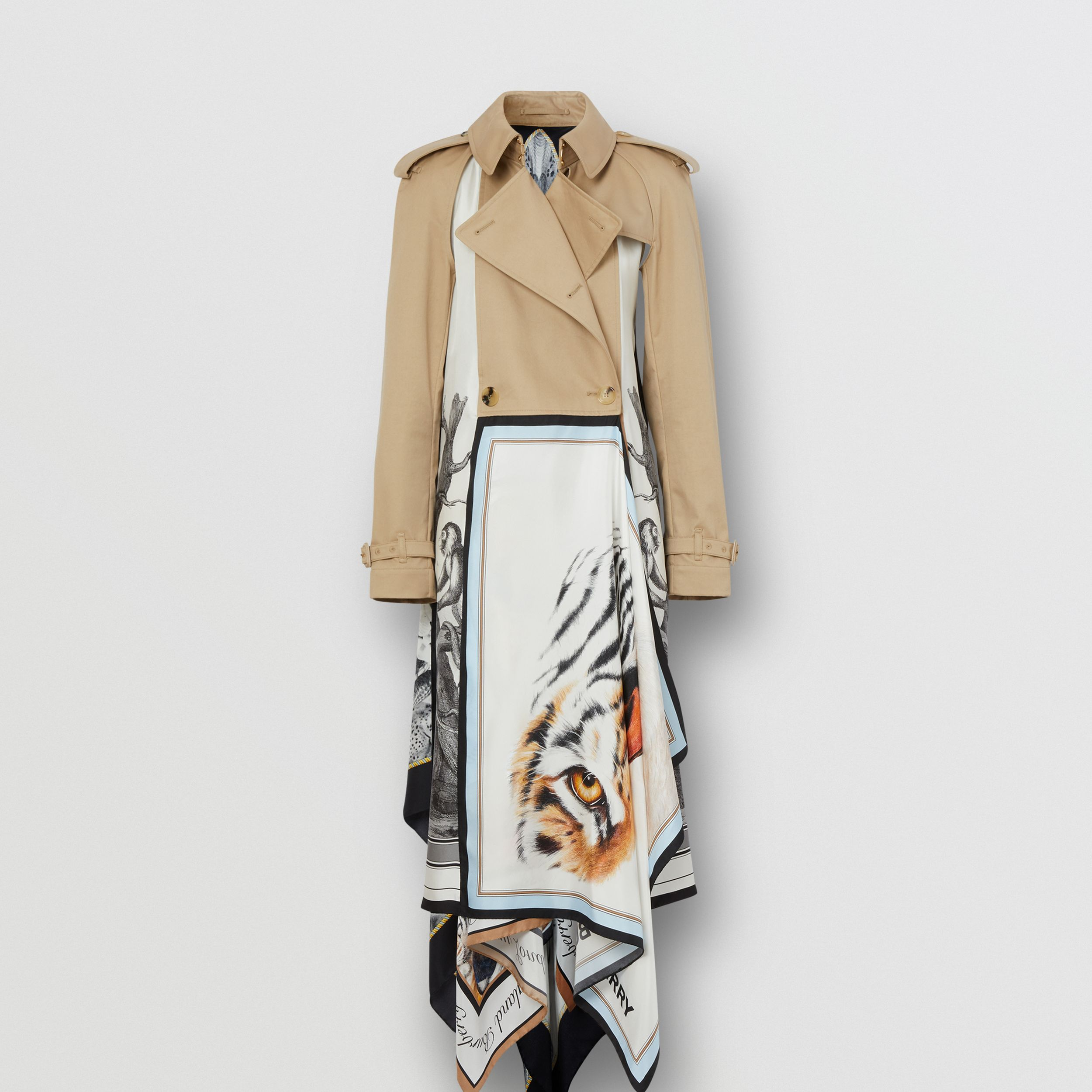 Animalia Print Cotton Twill Trench Coat in Soft Fawn - Women | Burberry - 3