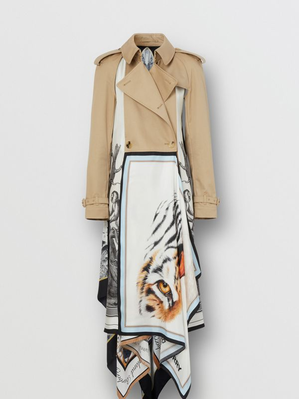 Animalia Print Cotton Twill Trench Coat in Soft Fawn - Women | Burberry Canada - cell image 2