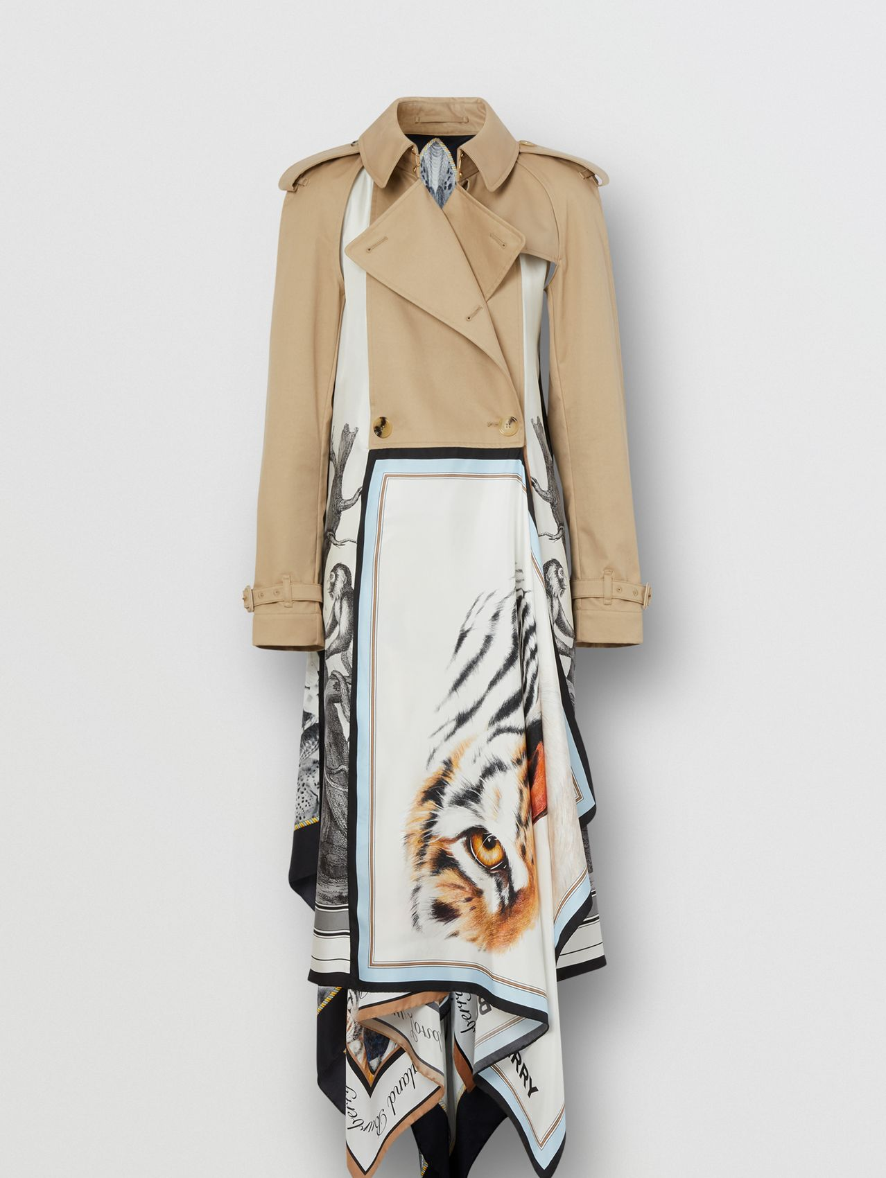 Animalia Print Cotton Twill Trench Coat in Soft Fawn