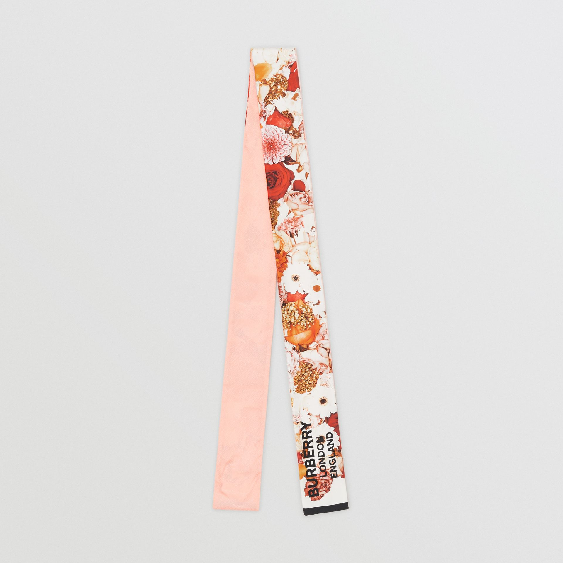 Floral Print Silk Skinny Scarf in Multicolour | Burberry United States - gallery image 0