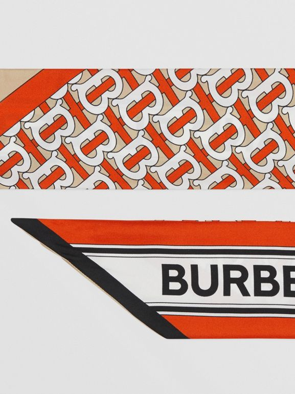 Monogram and Logo Print Silk Skinny Scarf in Vermilion | Burberry United Kingdom - cell image 1