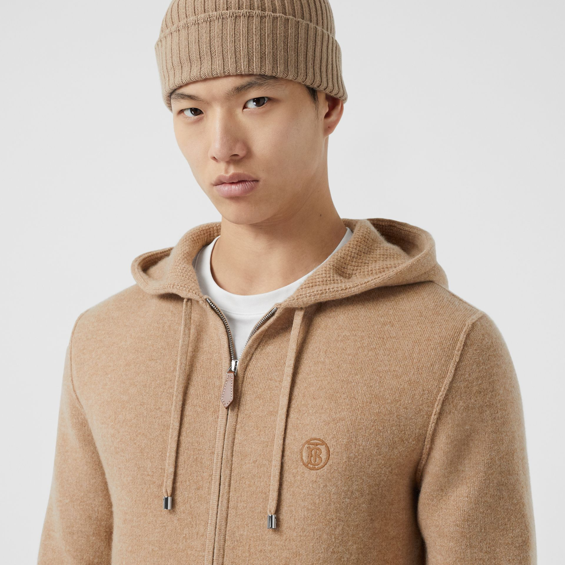 Monogram Motif Cashmere Blend Hooded Top in Pale Coffee - Men | Burberry Hong Kong S.A.R - gallery image 4