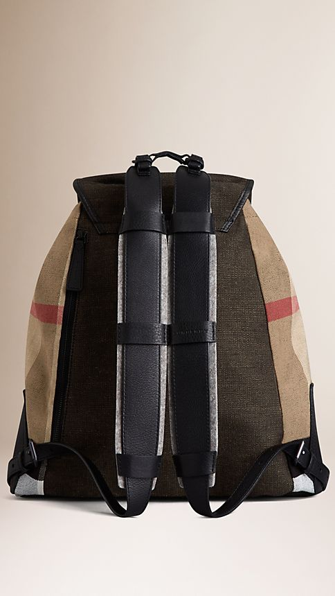 Camel Canvas Check Backpack Camel - Image 3