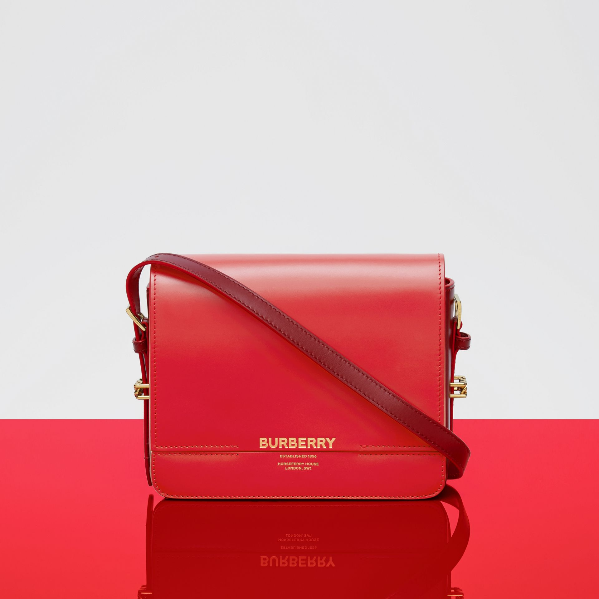 Small Two-tone Leather Grace Bag in Bright Red/burgundy - Women | Burberry - gallery image 10