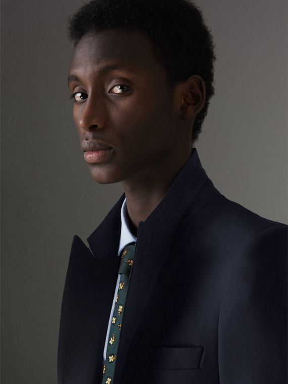 Slim Fit Wool Half-canvas Tuxedo in Navy - Men | Burberry Singapore - cell image 3