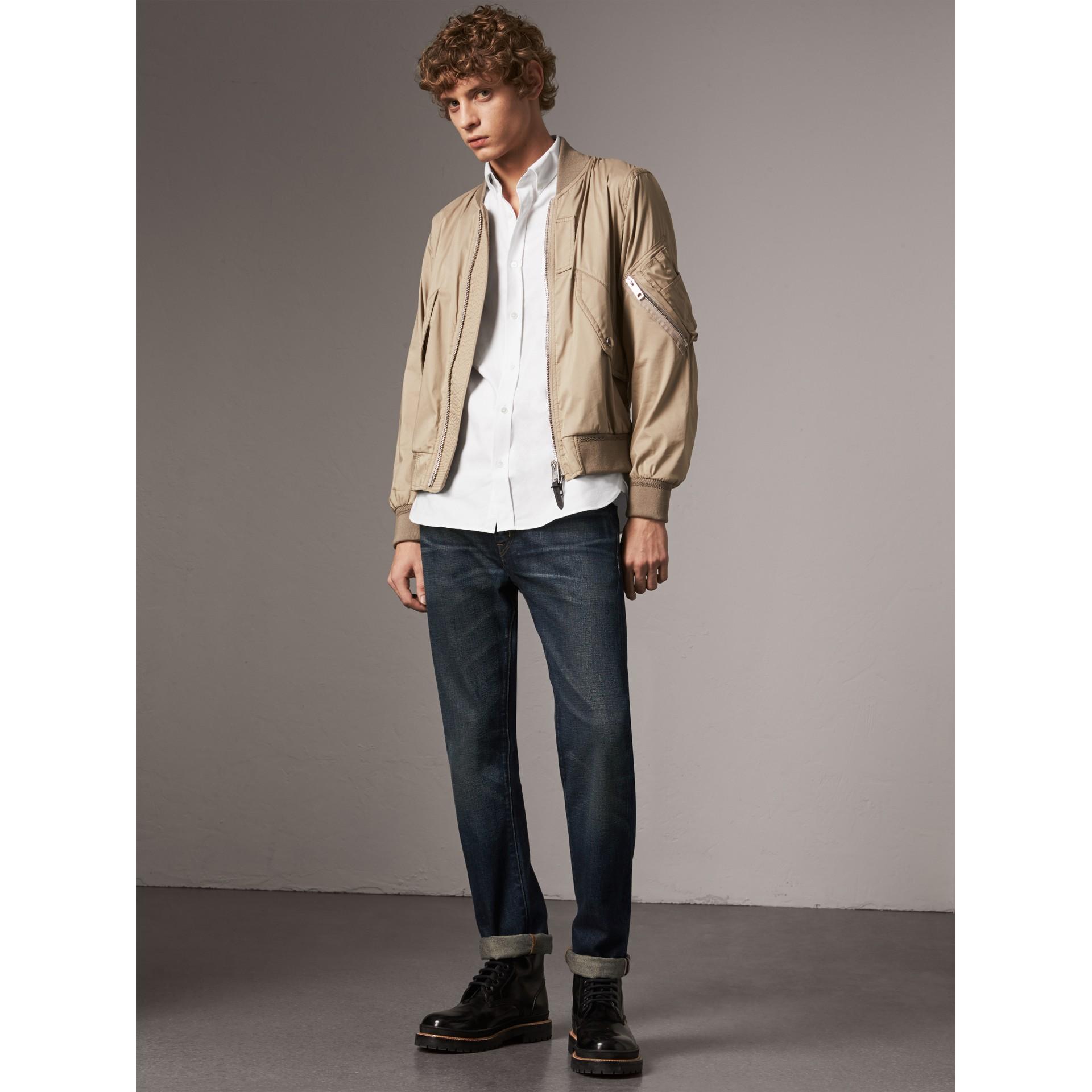 Chemise Oxford en coton à détails check (Blanc) - Homme | Burberry - photo de la galerie 5