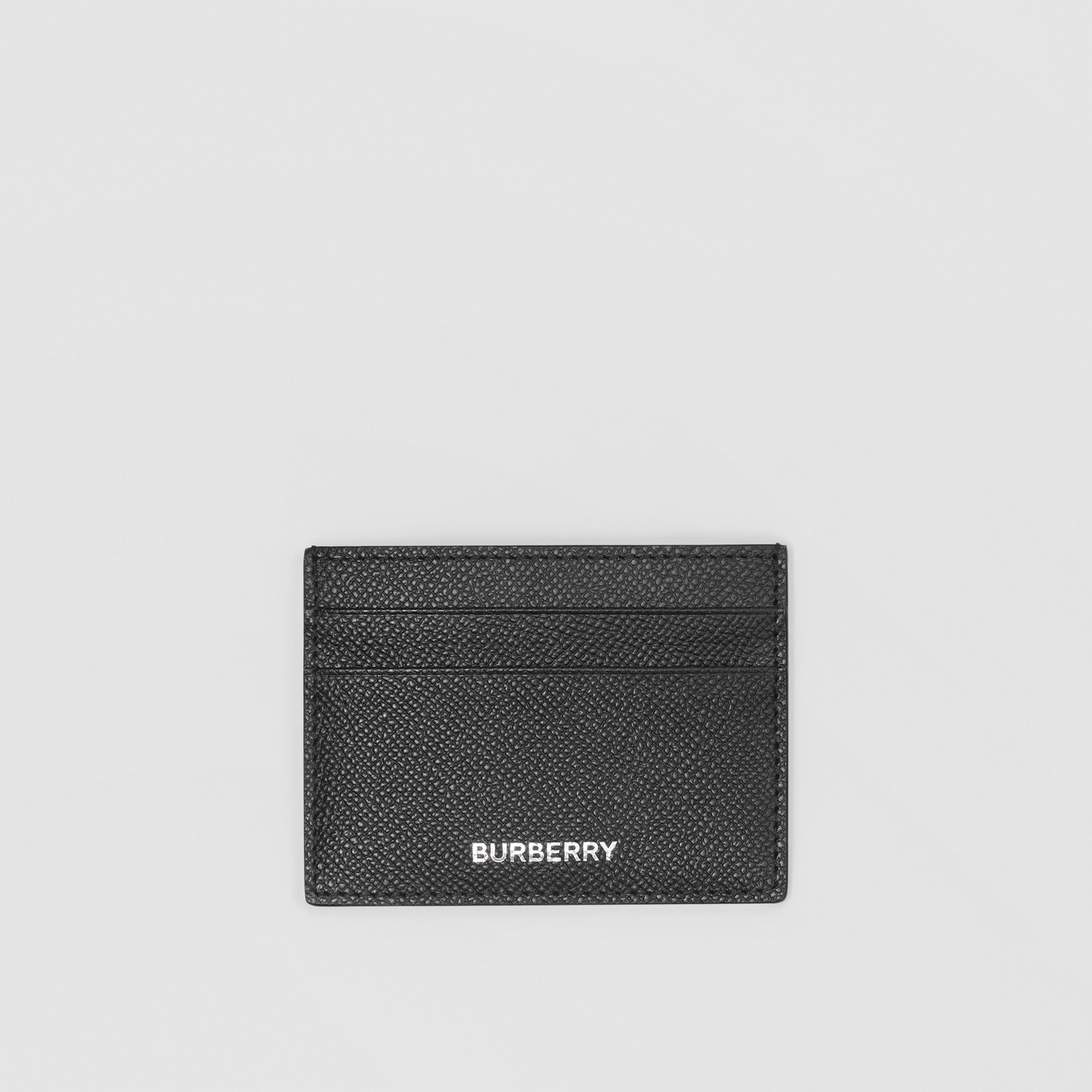 Grainy Leather Card Case in Black - Men | Burberry - 1
