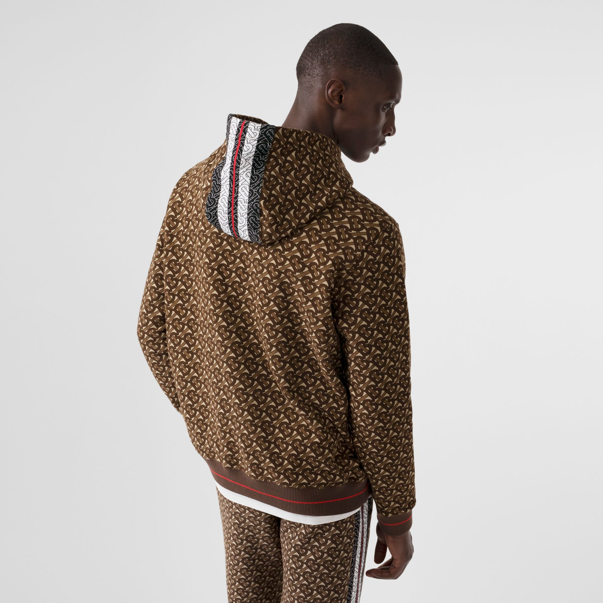Monogram Stripe Print Cotton Hoodie in Bridle Brown - Men | Burberry Australia - gallery image 2