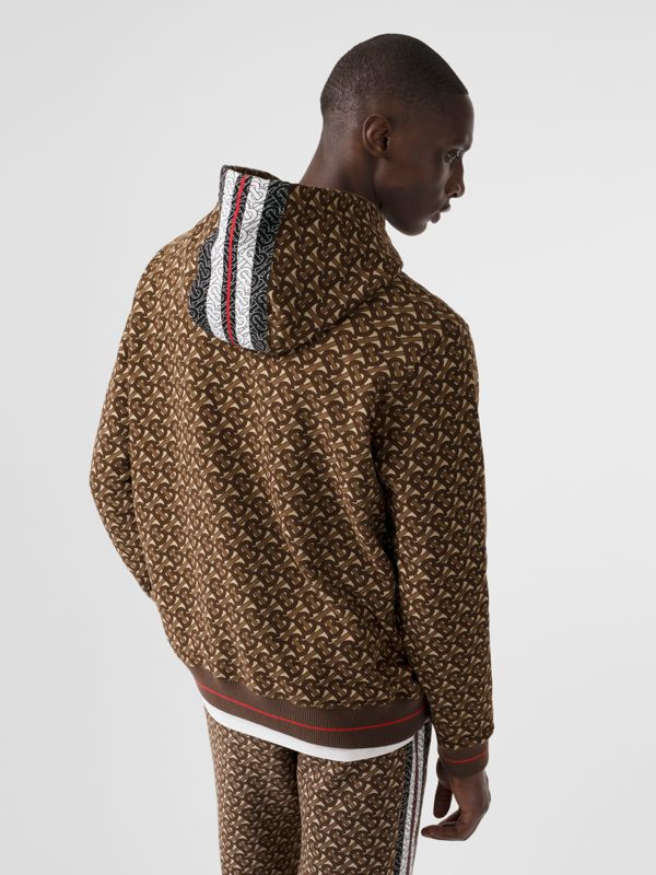 Monogram Stripe Print Cotton Hoodie in Bridle Brown - Men | Burberry Australia - cell image 2