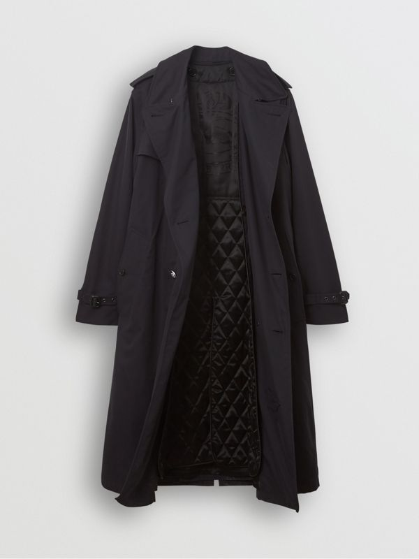 Cotton Gabardine Trench Coat with Warmer in Midnight Navy - Men | Burberry - cell image 3