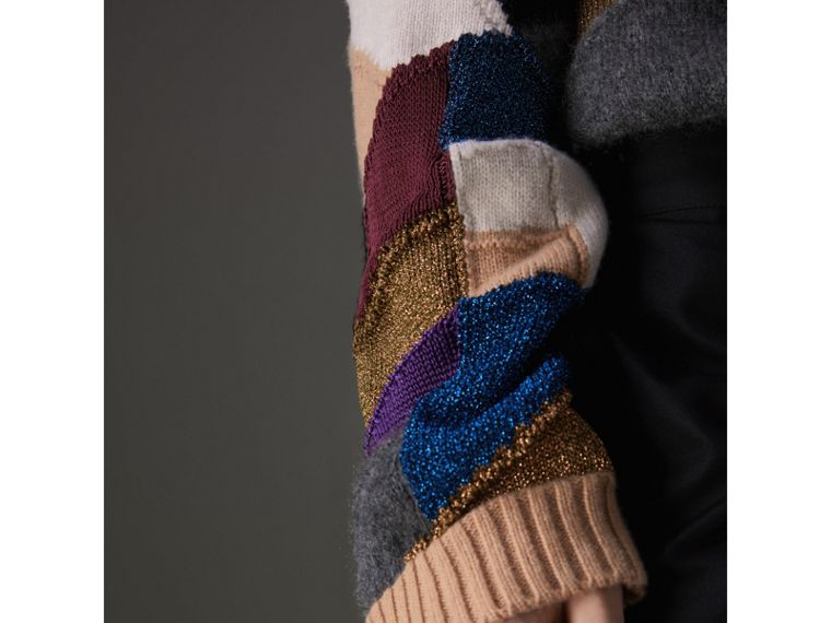Patchwork Cashmere Wool Blend Sweater in Cobalt Blue - Men | Burberry - cell image 4