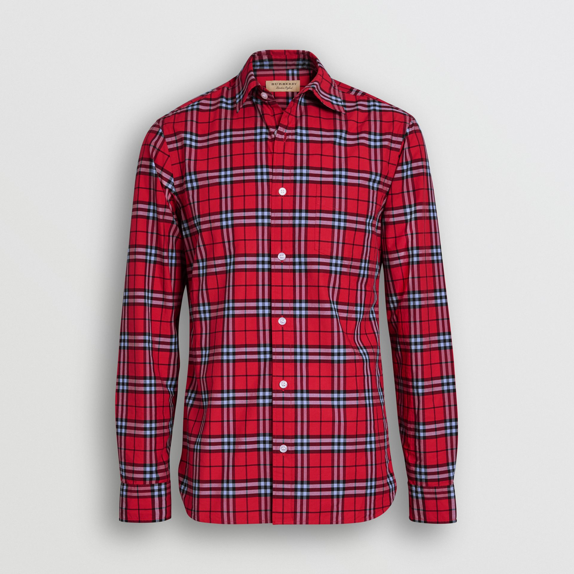 Check Cotton Shirt in Bright Red - Men | Burberry United Kingdom - gallery image 3