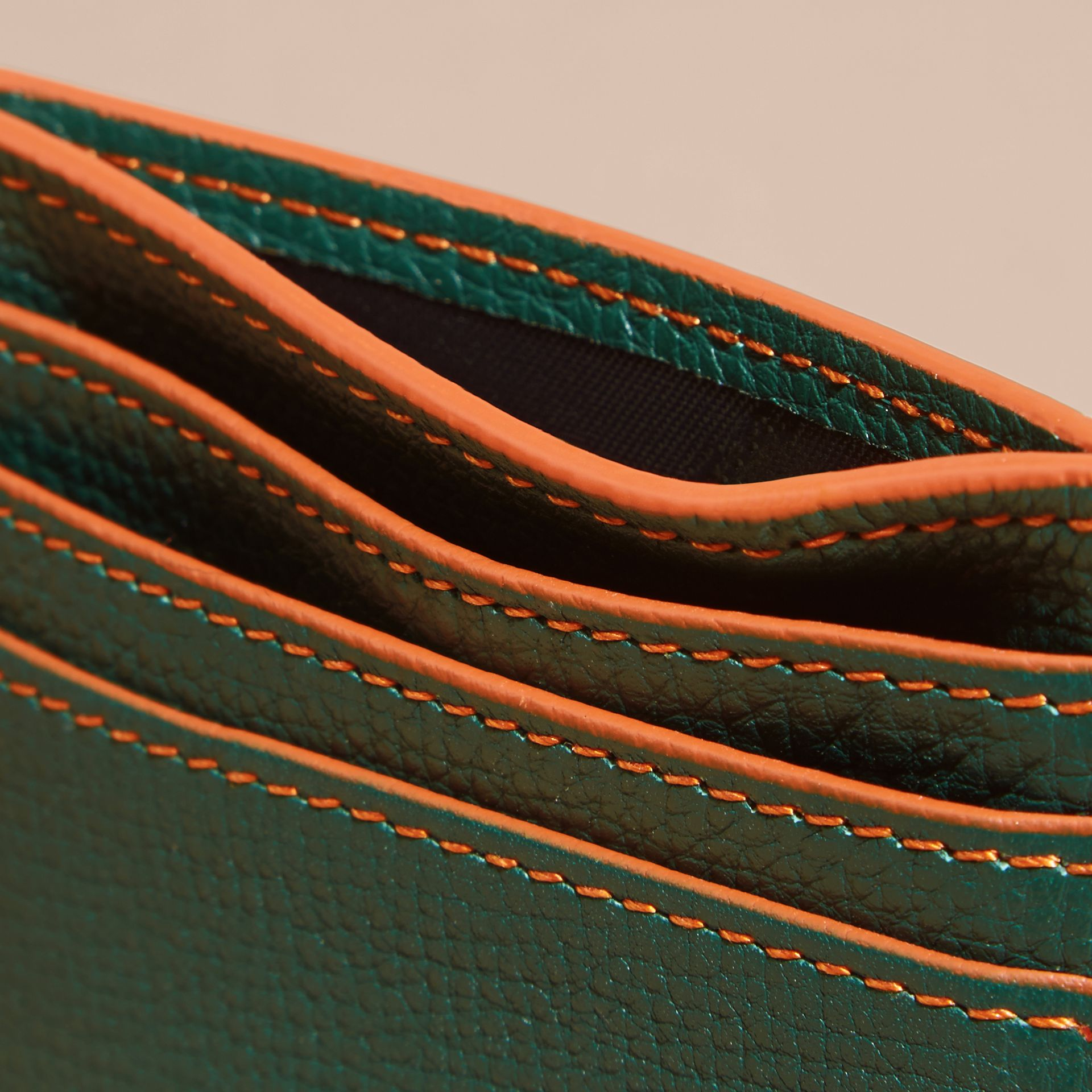 Colour Block Leather Card Case Sea Green - gallery image 5