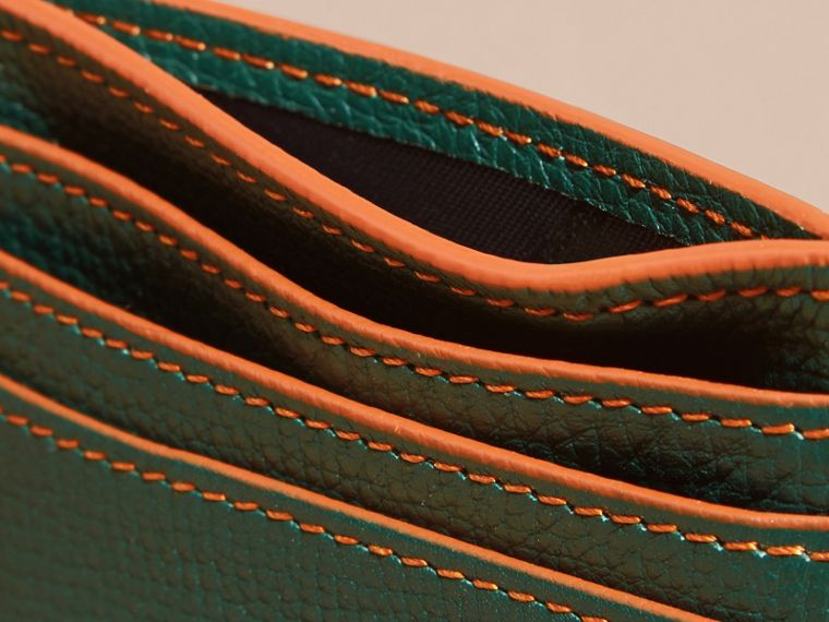 Colour Block Leather Card Case Sea Green - cell image 4