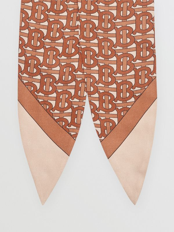 Monogram Print Silk Hair Scarf in Brown - Women | Burberry - cell image 3