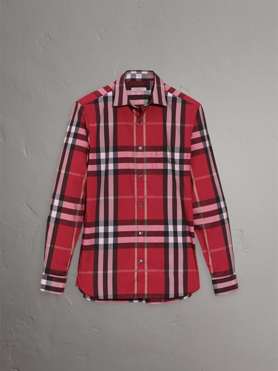 Check Stretch Cotton Shirt in Parade Red - Men | Burberry United Kingdom - cell image 3