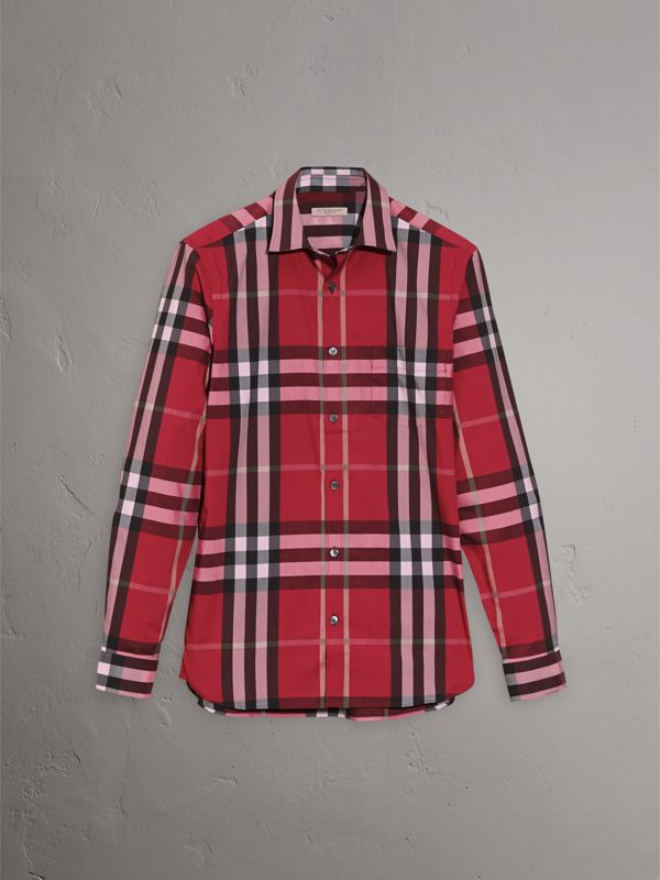 Check Stretch Cotton Shirt in Parade Red - Men | Burberry Canada - cell image 3