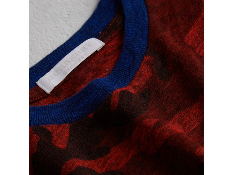 Camouflage Print Jersey T-shirt in Red - Boy | Burberry - cell image 1