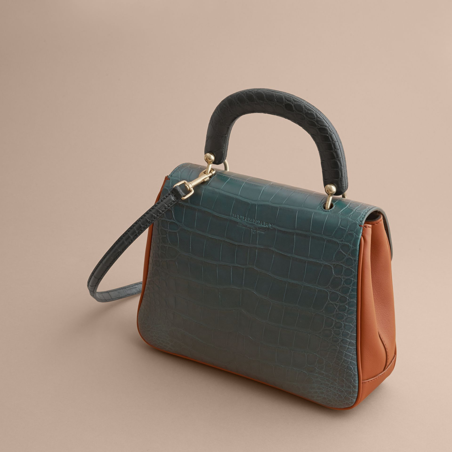The Medium DK88 Top Handle Bag with Alligator Tan/dark Forest Green - gallery image 5