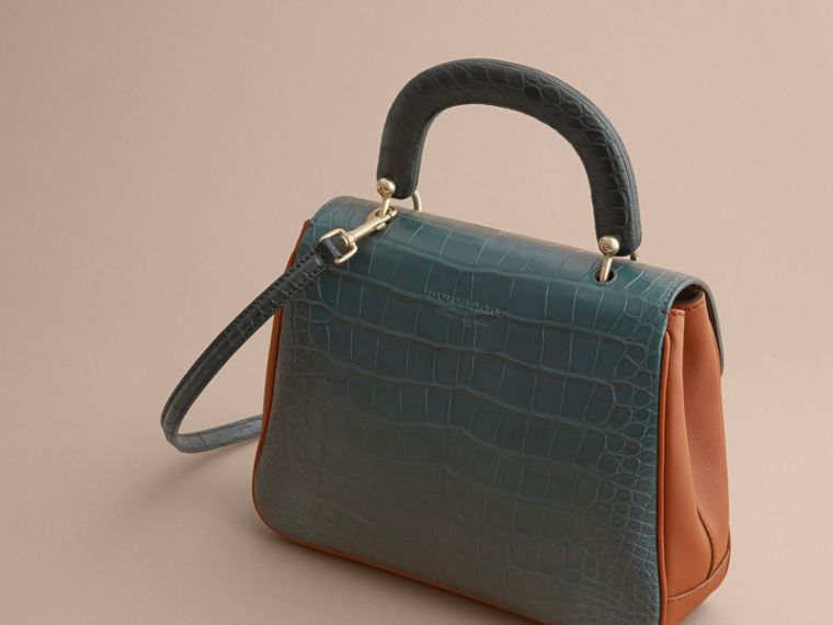 The Medium DK88 Top Handle Bag with Alligator Tan/dark Forest Green - cell image 4