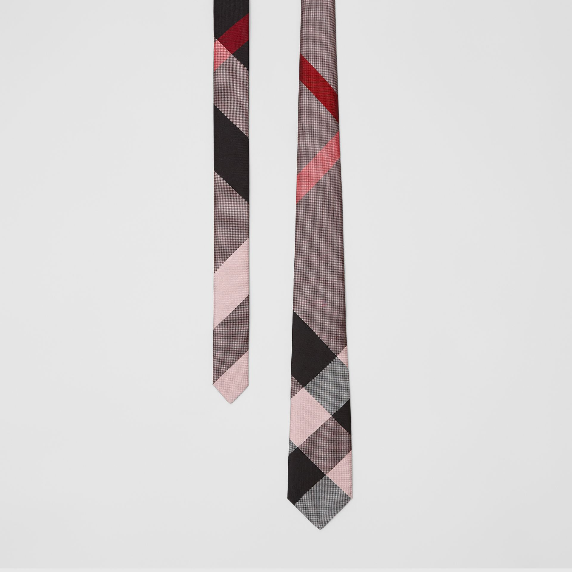 Modern Cut Oversized Check Silk Tie in Alabaster Pink - Men | Burberry - gallery image 0