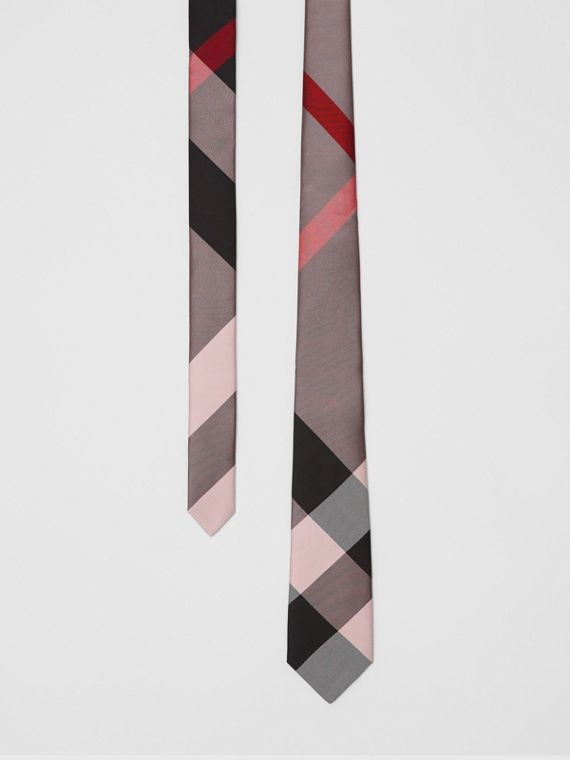 Modern Cut Oversized Check Silk Tie in Alabaster Pink