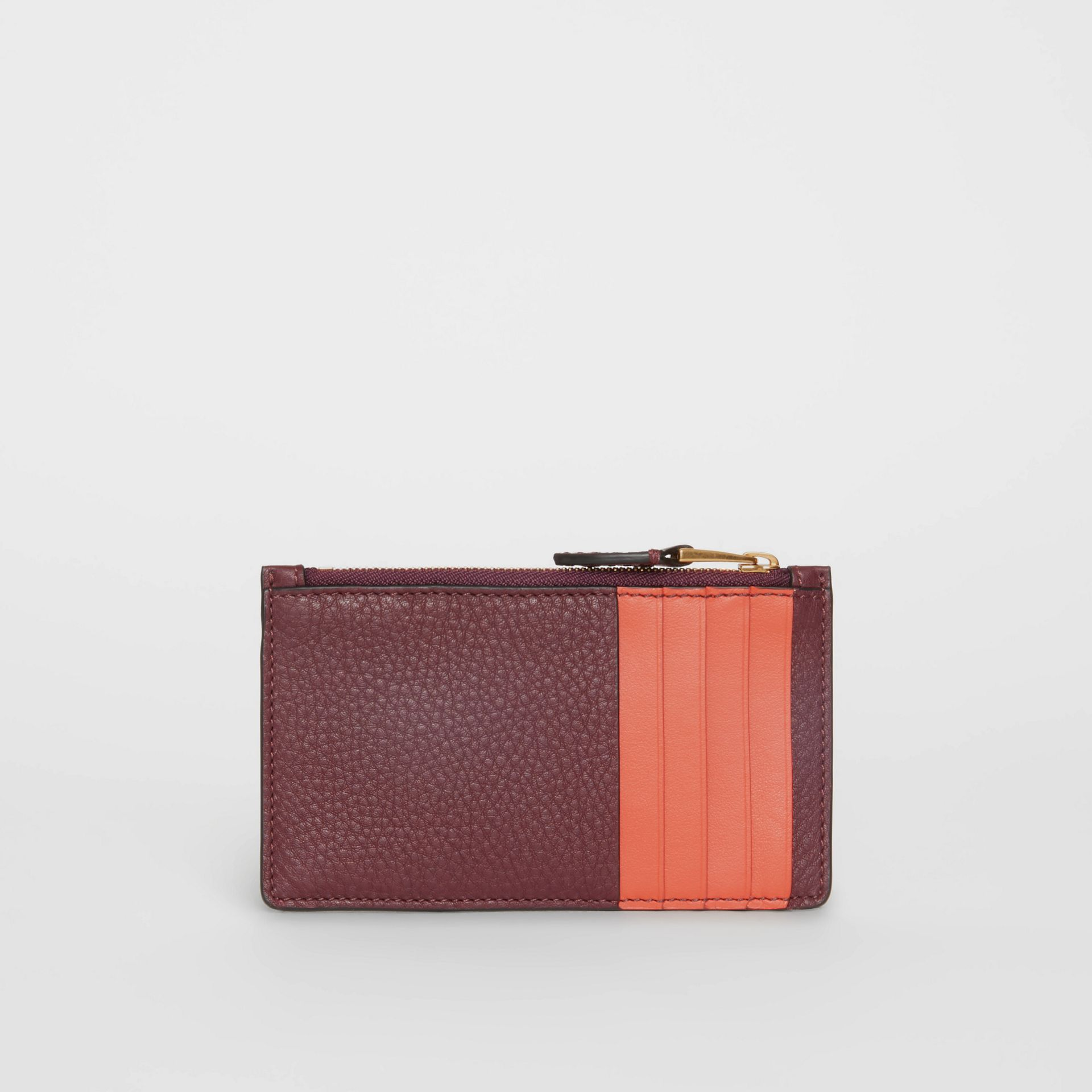 Two-tone Leather Zip Card Case in Deep Claret | Burberry Australia - gallery image 4