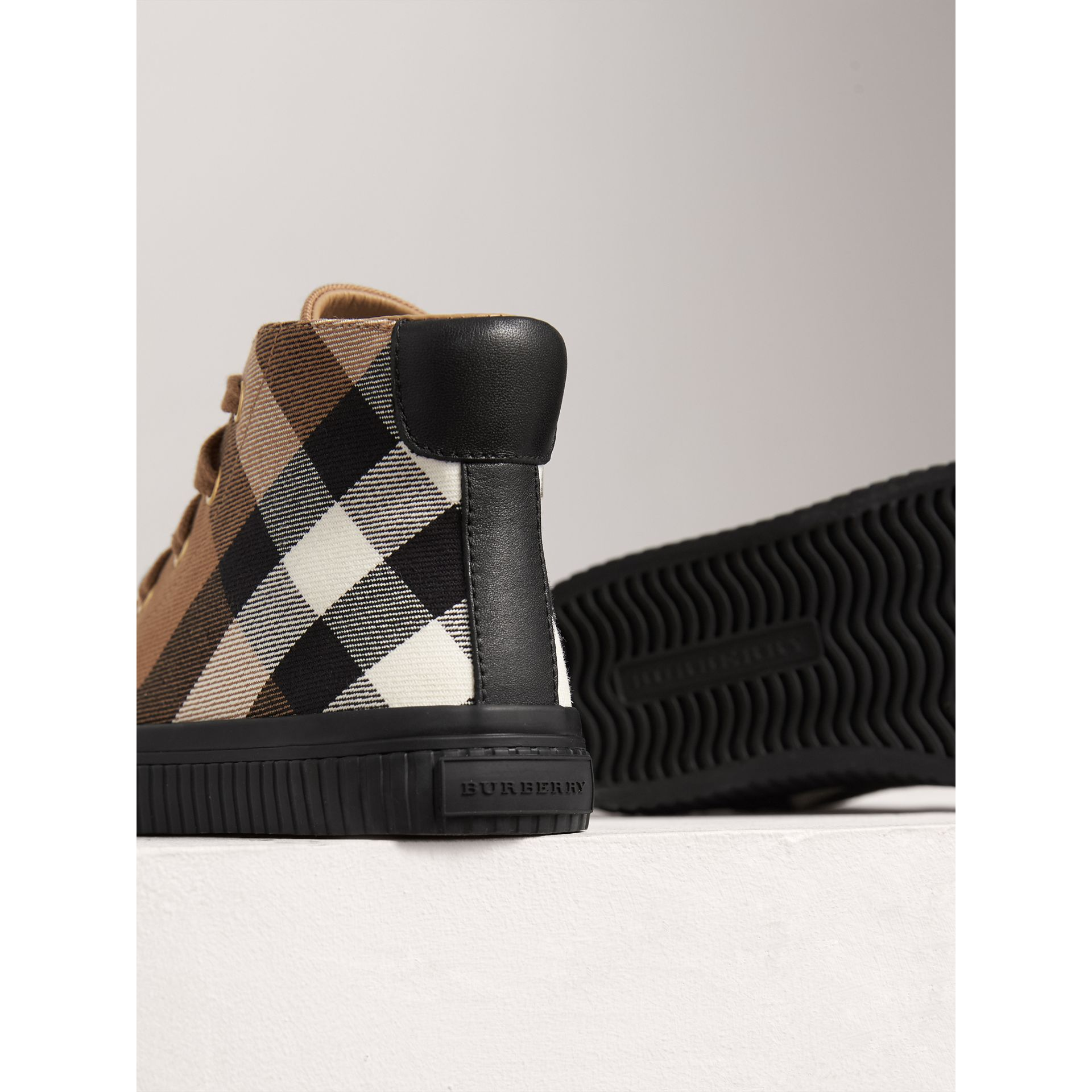 House Check and Leather High-top Sneakers in Classic/black | Burberry Canada - gallery image 2