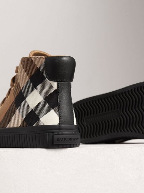 House Check and Leather High-top Sneakers in Classic/black | Burberry - cell image 2