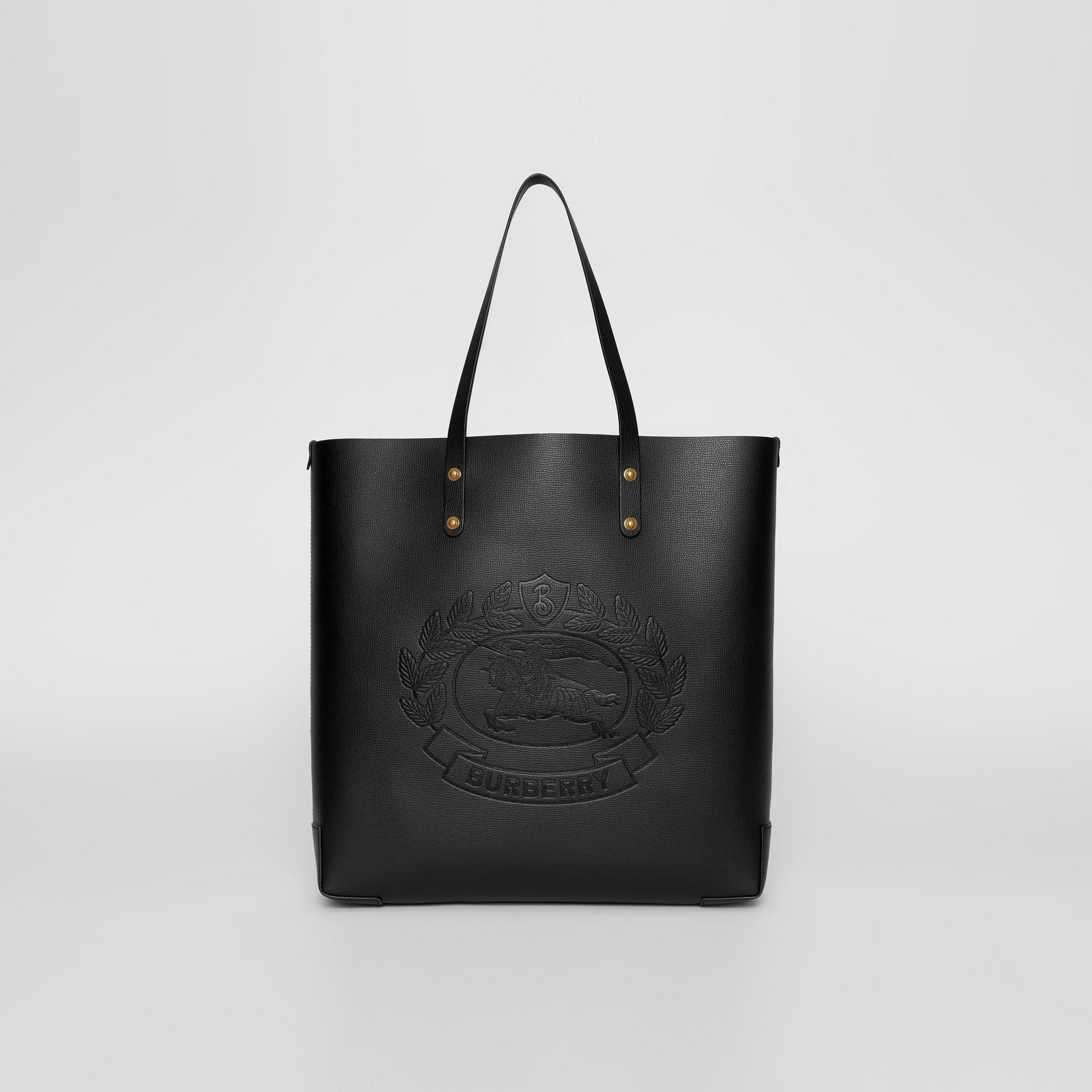 Embossed Crest Leather Tote in Black | Burberry - gallery image 0