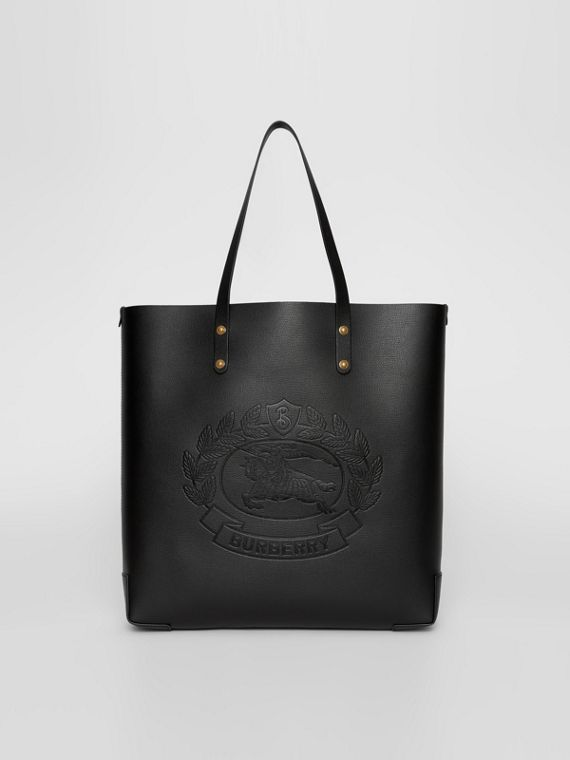 Embossed Crest Leather Tote in Black