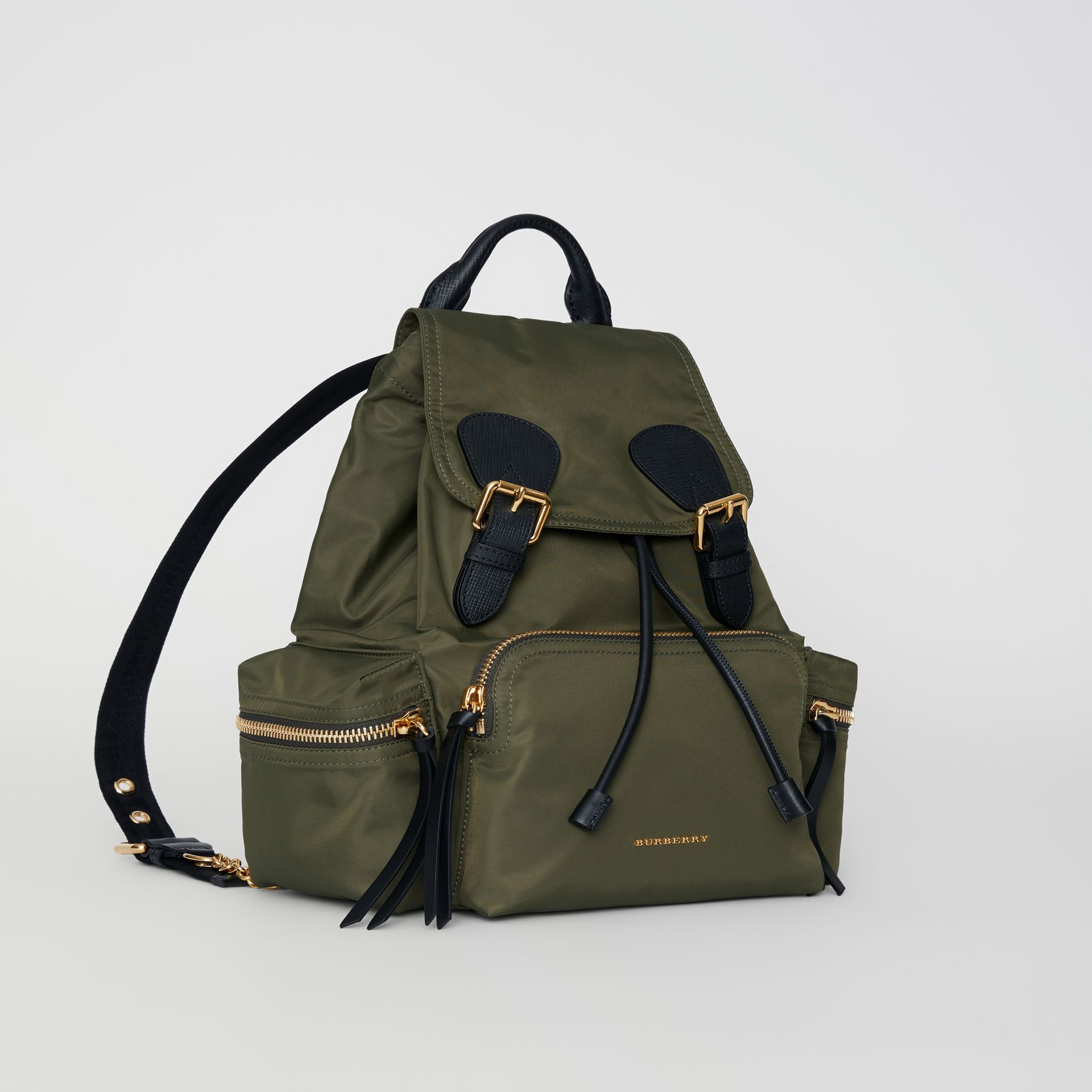 The Medium Rucksack in Technical Nylon and Leather in Canvas Green - Women | Burberry United Kingdom - gallery image 5