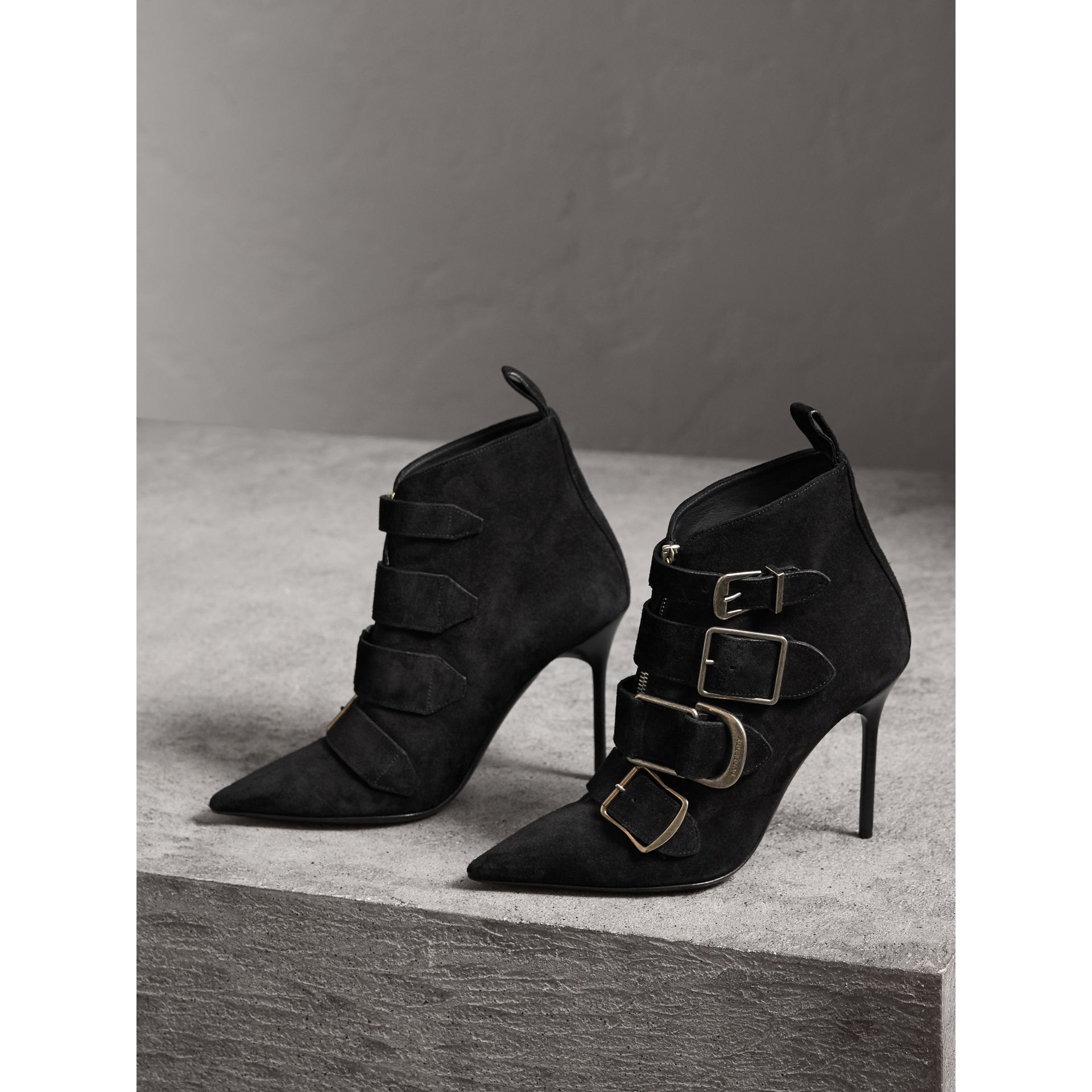 Buckle Detail Suede Ankle Boots in Black - Women | Burberry United Kingdom - gallery image 5