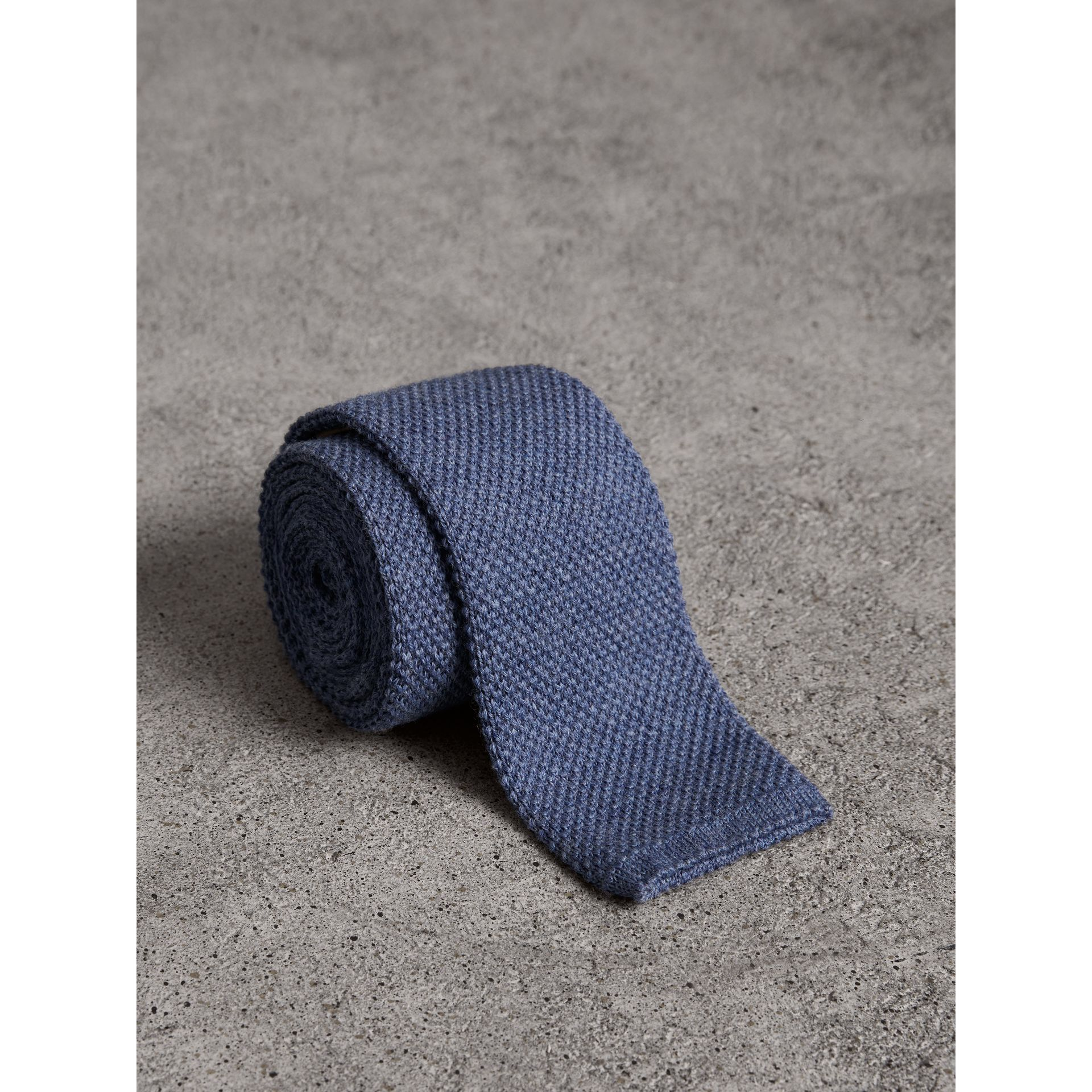Slim Cut Waffle Knit Wool Tie in Lavender Blue - Men | Burberry - gallery image 1