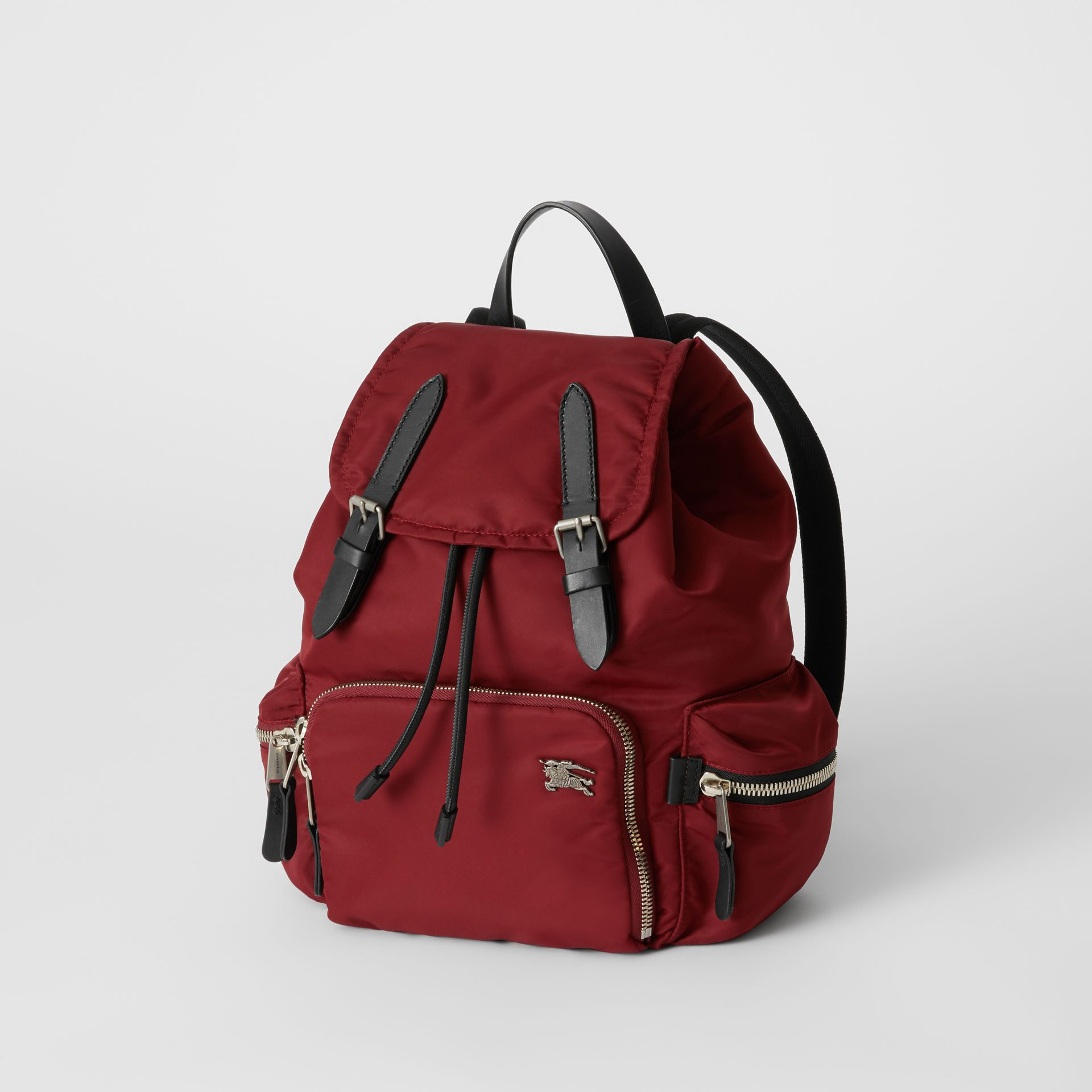 The Medium Rucksack in Nylon and Leather in Burgundy Red - Women | Burberry United Kingdom - gallery image 3