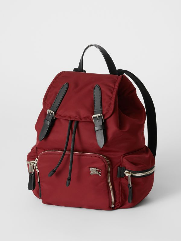 The Medium Rucksack in Nylon and Leather in Burgundy Red - Women | Burberry Singapore - cell image 3